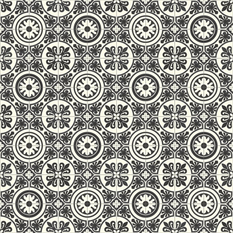 PVC/Vinyle Plaza Carreaux ciment noir et blanc